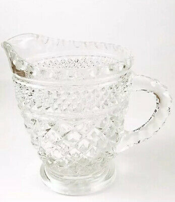 Small Vintage Diamond Cut Glass Creamer
