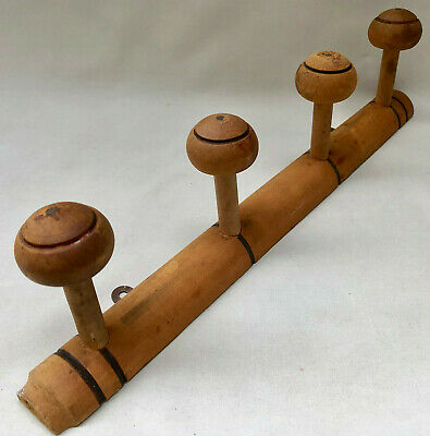 VINTAGE FRENCH 1940s WOOD COAT OR HAT RACK WITH FOUR TURNED WOODEN KNOB HOOKS