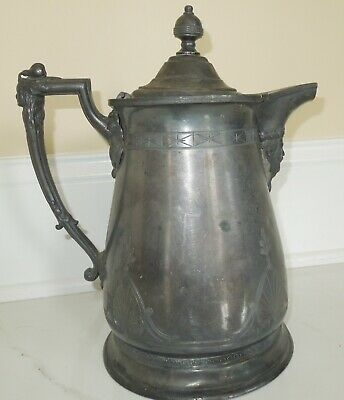 Rare Antique Victorian  Redfield & Rice Large Pitcher Coffee Pot Kings Head