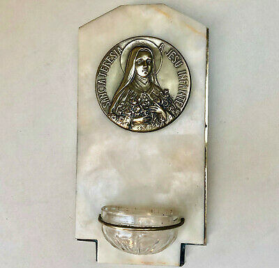 Antique French Religious Marble & Brass Wall Plaque With Glass Holy Water Font