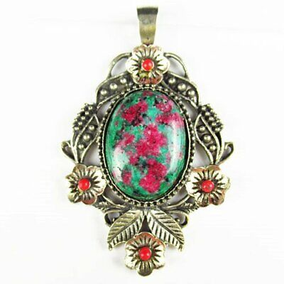 Carved Tibetan Silver Flower Ruby In Fuchsite Oval Pendant Bead A51340