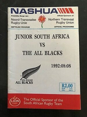 3737 - ALL BLACKS 1992 tour: SA Juniors v New Zealand Rugby Programme Cavaliers