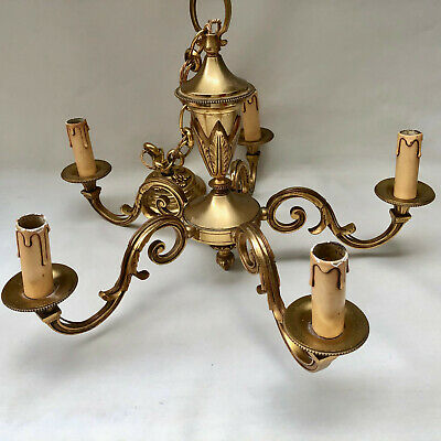 Vintage French Five Arm Heavy Brass Chandelier With Hanging Chain & Ceiling Rose