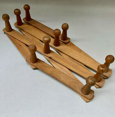 VINTAGE FRENCH EXPANDABLE WOOD COAT OR HAT RACK WITH 10 HOOKS WALL HANGING hHALL