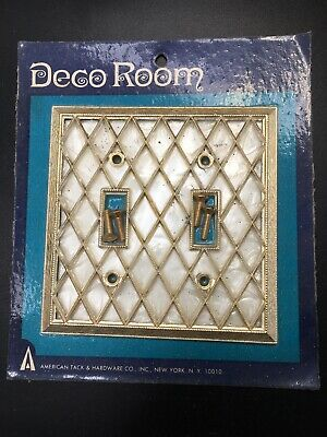 Vintage Light Switch Plate Double Toggle Deco Room -New Old Stock