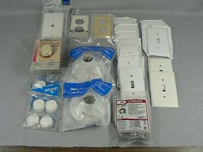 Lot of Electrical Components Sockets Switch Plates Dimmer Clamps New old stock