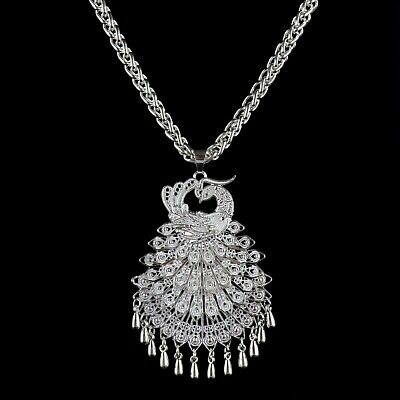 Collect China Old Mian Silver Hand-Carved Peacock Statue Delicate Decor Necklace