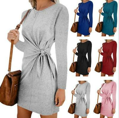 Womens Autumn Casual Bottom Sweater Bodycon Crew Neck Long Sleeve Lace Up Dress