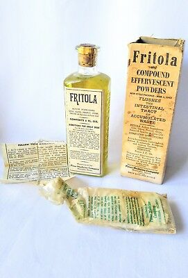 Vintage Fritola Full Bottle Box Inserts Laxative Medicine Antique Oddity Powder