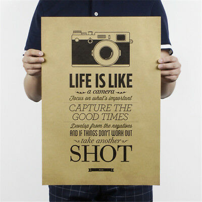 life is like a camera poster cafe bar painting retro kraft paper wall stickeEO