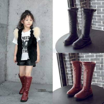 Kids Girls Winter Warm Lined Knee High Boots Faux Leather Riding School Shoes