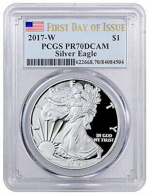 2017-W Silver Proof American Silver Eagle PCGS PR70 First Day of Issue Flag
