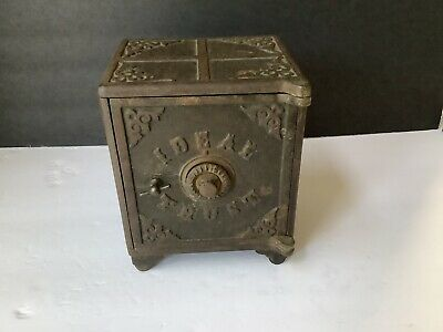 Antique Cast Iron IDEAL TRUST Safe/ Bank  very old