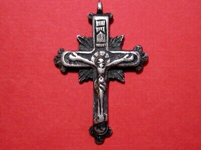 Outstanding Old, Post Medieval Orthodox Solid Silver Crucifix Cross+++