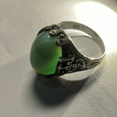 Turkish Jewelry Green Agate Zulfiqar Aqeeq 925 Sterling Silver Men's Ring Sz 11