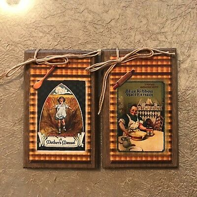 **NEW** 5 Handcrafted Prim Wooden VINTAGE COOK Ornaments - Cook Hang Tags SetO