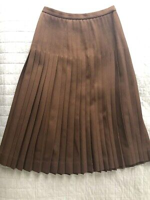 Vintage Wool Pleate Midi Skirt (Made In France) Size 8