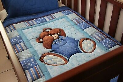 Traditional Billy Bear Cot Quilt with pillow case