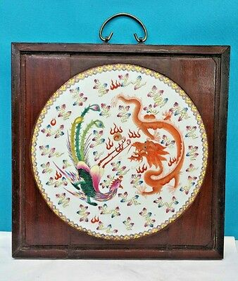 Antique Chinese Porcelain Round Plaque In Wood Frame