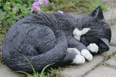 Sleeping Black Cat Figurine Adorable - Life Like Statue Home / Garden NEW
