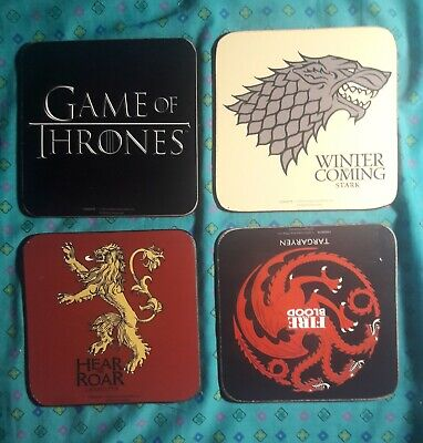 Game of thrones collectible coasters House emblems Stark Targeryen Lannister