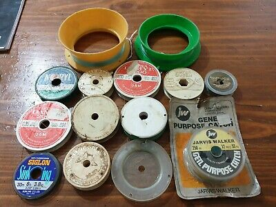 Vintage Collectable, Old Fishing Lines x 12, and Two small hand held reels.  #43