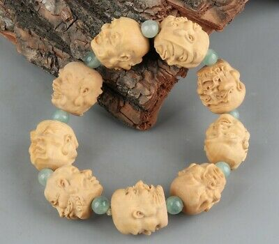 Chinese Exquisite Handmade Luohan Carving wood Bracelet
