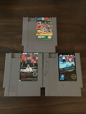 Mike Tyson's Punch-Out Pro Wrestling 5 Screw Arch Rivals Nintendo NES 3 Game Lot