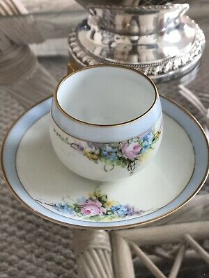 J&C Bavaria Hand Painted Eggshell Porcelain Cup & Saucer