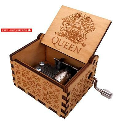 Youtang Antique Carved Wooden Hand Crank Queen Music Box, Play Bohemian Rhapsody