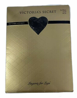 Victoria's Secret Vintage Silky Sheer Lace Panty Pantyhose Jet Black Small New