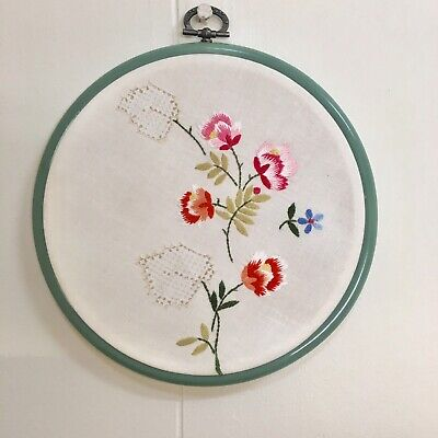 Vintage Embroidery Hoop Wall Art Floral Christmas Gift Her