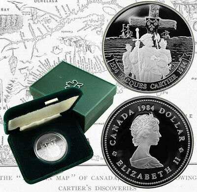 CANADA 1 Dollar 1984 Proof 450th Years of Jacques Cartier's Landing at Gaspé Bay