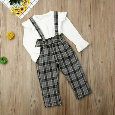 Toddler Kid Baby Girl Outfit Set Long Sleeve Tops Suspender Pants Autumn Clothes