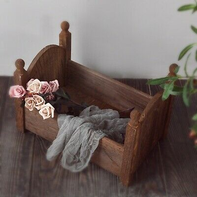 Lovely Newborn Wood Bed Baby Photo Photography Props Shoot Gift Infant Posing