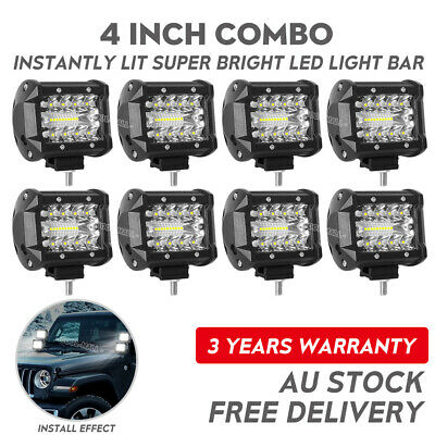 8x 4 inch 200W LED Work Light Bar SPOT FLOOD Combo 3-Row Offroad Car Fog Lamp
