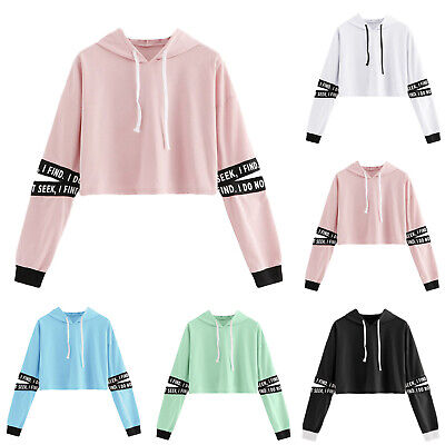 Women Cropped Tops Hoodie Pullover Hooded Sweatshirt Casual Outwear Autumn Coats