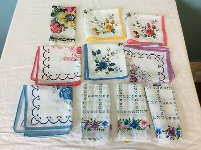A COLLECTION OF 10 VINTAGE FLORAL HANDKERCHIEFS (ref 14) 10191