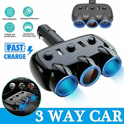 DC 12V Car Cigarette Lighter Adapter 3 Way Double Plug Socket Charger Splitter