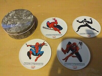 Spiderman tin of metal topped, corked bottom coasters