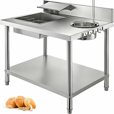 Breading Table 100X70X80cm Breader Station Fried Chicken Fish Stainless Steel