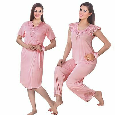 New Ladies Satin Pyjama Set Silky Short Sleeve Girls Pj's Nightsuit Nightwear 6-