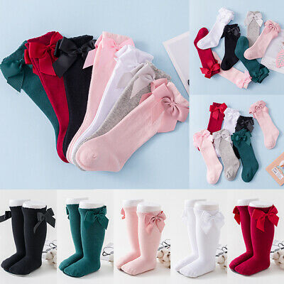 Baby Kids Bowknot Socks Girl Spanish Romany Style Knee High Cotton Blend Satin