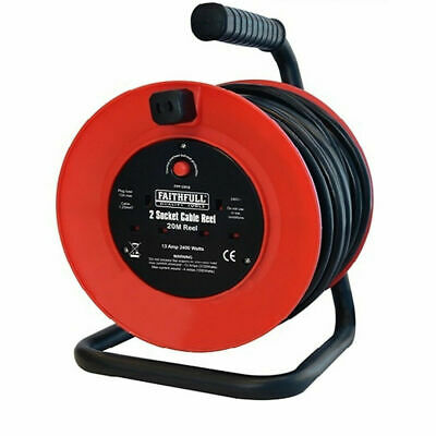 Faithfull 10m / 20m Open Frame Cable Reel 2 Socket 240v Thermal Cut Off