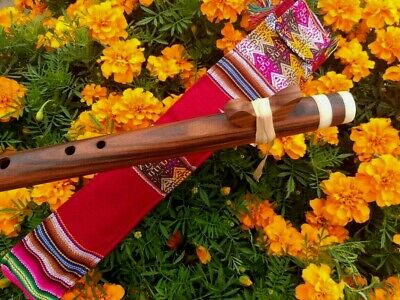 Native American Style Flute (G) See Video Wood Flute W-Bag Carved Bone  New