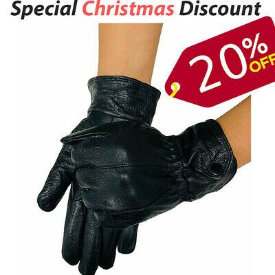 Mens Womens Leather Gloves with Fleece Lining Warm Thermal Classic Soft Lambskin
