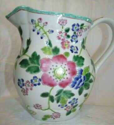 """Antique Chinese Molded Porcelain Water Jug Pitcher Hand Painted Enamels 8.25"""" h"""