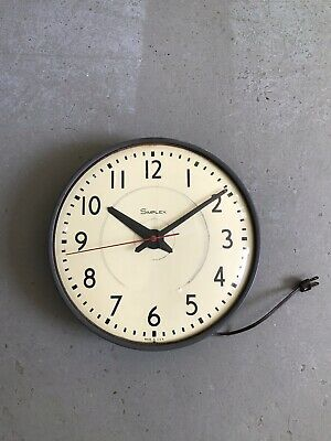 Vintage Schoolhouse Electric Wall Clock, Simplex, Usa, Working