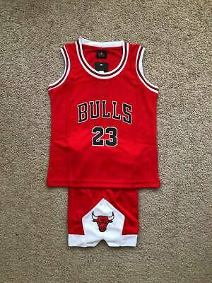 Michael Jordan #23 Bulls Kids Basketball Jersey Shorts Set Red US Seller!
