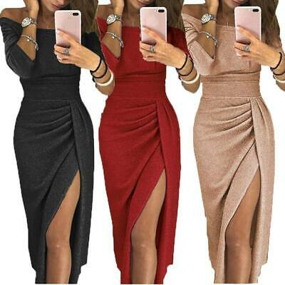 Ladies Off Shoulder Bodycon Dress Split Evening Cocktail Party Gown Prom Dresses